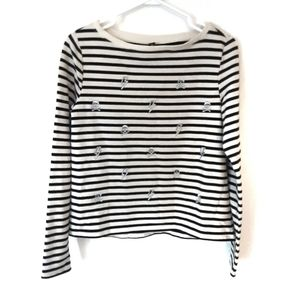 Betsey Johnson Striped Skull + Lightning Shirt